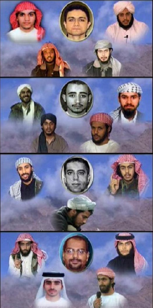 Pictures of the hijackers from each team. The teams are listed from top to bottom, and hijackers in each team are listed clockwise from top left. Flight 11 (Abdulaziz Alomari, Mohamed Atta, Waleed Alshehri, Wail Alshehri, Satam Suqami); Flight 77 (Khalid Almihdhar, Hani Hanjour, Nawaf Alhazmi, Majed Moqed, Salem Alhazmi); Flight 93 (Ahmed Alhaznawi, Ziad Jarrah, Saeed Alghamdi, Ahmed Alnami), Flight 175 (Ahmed Alghamdi, Marwan Alshehhi, Hamza Alghamdi, Mohand Alshehri, Fayez Ahmed Banihammad).